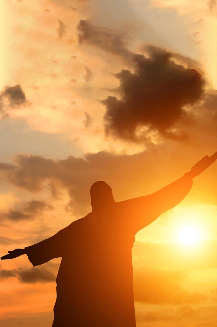 Besprechen von Krankheiten - Jesus vor Himmel mit Sonne und Wolken